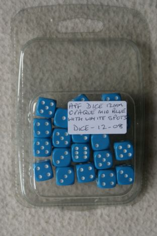 APF Dice-12-08 12mm D6 Opaque Mid Blue with White Spots